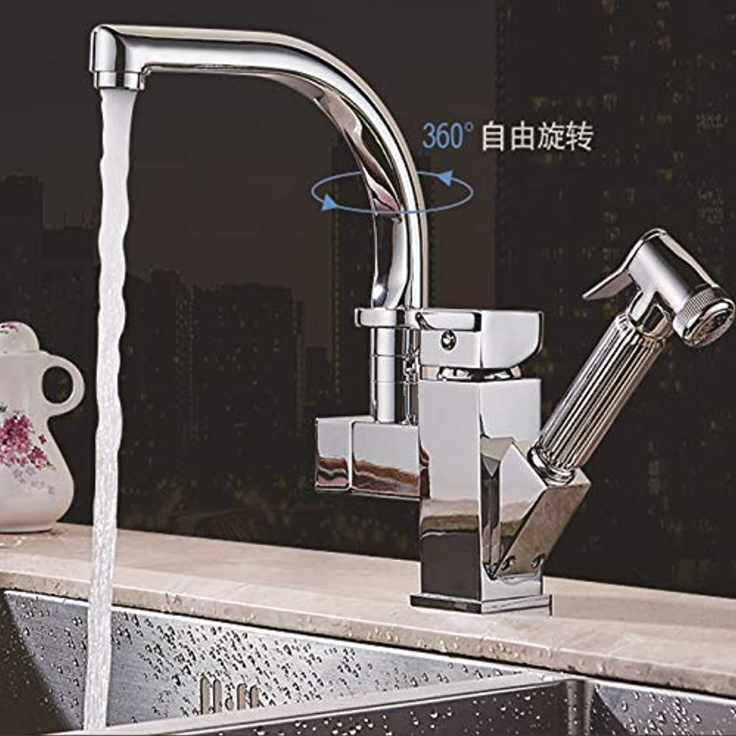 SEBAS HOME Taps Faucet Dish Basin Hot And Cold Faucet Kitchen Faucet Sink Sink Copper Hot And Cold Faucet Multi-Function Pull-Out Faucet