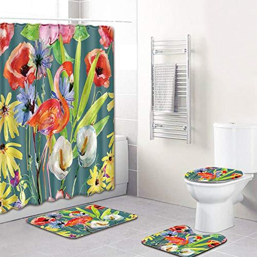 KEAINIDENI toiletmat Flamingo badkamer douchegordijn 180 * 180 cm 4 stks badkamer matten en tapijten PVC anti-slip wc mat bad decoratie vloer tapijt 50x80cm L51