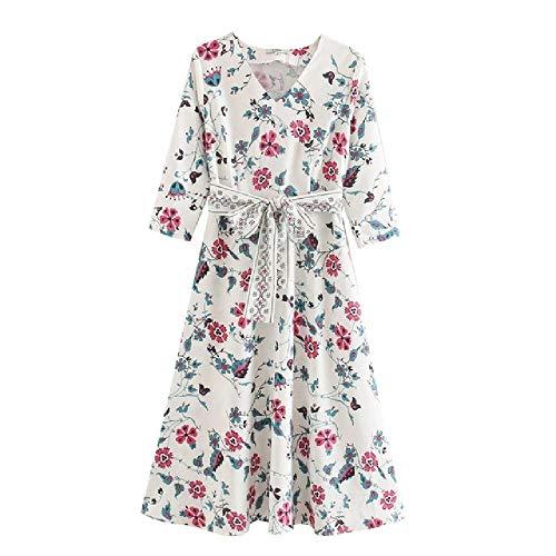 nobrand Mode Frauen Floal Kleid weiß SommerV-AusschnittÄrmel DamenKleid