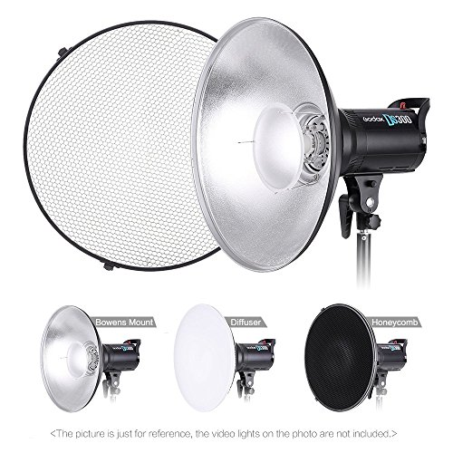 Andoer 16 inches Standard Reflector Beauty Dish with Honeycomb and White Diffuser Sock for Bowens Mount Studio Strobe Light and Speedlite Photography Light Studio Accessory