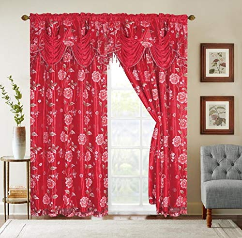 Glory Rugs Flower Curtain Window Panel Set Luxury Curtains with Attached Valance and Sheer Backing Living Room Bedroom Dining 55x84 Each Balsam Collection