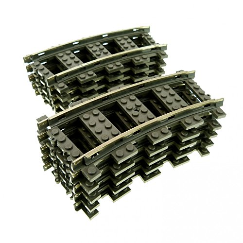 10 x Lego Eisenbahn Schienen Kurve 9 v grau Zug Schiene Gleis 2867