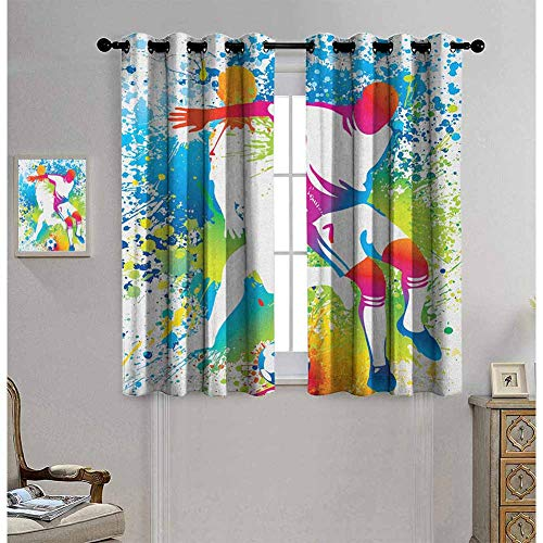hengshu Youth Pattern Curtains Blackout Football Players with a Soccer Ball and Colorful Grunge Splashes Competition Sports Bedroom Decor Living Room Decor W62 x L72 Inch Multicolor