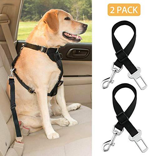 LY1122 - Black - 2 Pack Cat Dog Pet Safety Seatbelt for Car Seat Belt Adjustable Harness Lead