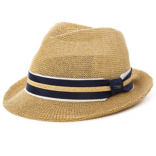 Comhats Herren Sonnenhut Strohhut Panama Fedora Tribly Hut Kurze Krempe beige M