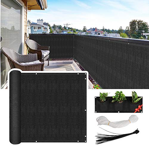 HilarityMax Balcony Privacy Screen, 3.5' x 16.5', Fits Apartment Railings, Patio Decking, or Decks, Black 210 GSM HDPE with 95% Reduced Visibility, Breathable UV Protection, 3-Pocket Vertical Planter