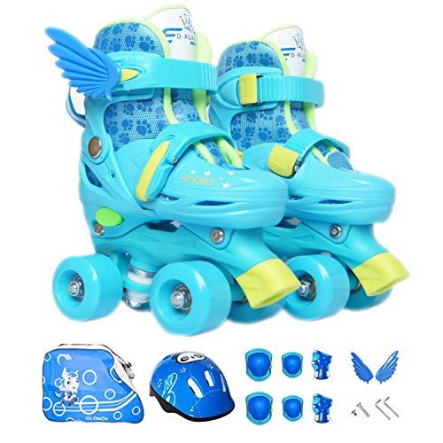 Sumeber Inline Skates Kinder mit Verstellbarer Länge Kid Boys Girls Rollschuhe Outdoor/Indoor (Blue-Quad Roller, XS (27-30))