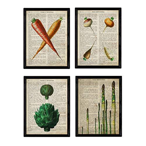 Nacnic Set de Cuatro láminas de Frutas y Verduras. Tamaño A4. Modelo 2. Sin Marco