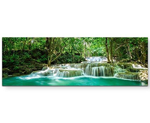Paul Sinus Art Leinwandbilder | Bilder Leinwand 150x50cm Wasserfall im tropischen Regenwald in Thailand