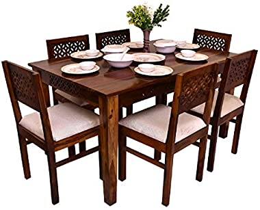 FURNIZY Solid Sheesham Wood 6 Seater Dining Table Set with Six CNC Cutting Chair for Living Room 7 Piece Wooden Dining Room S
