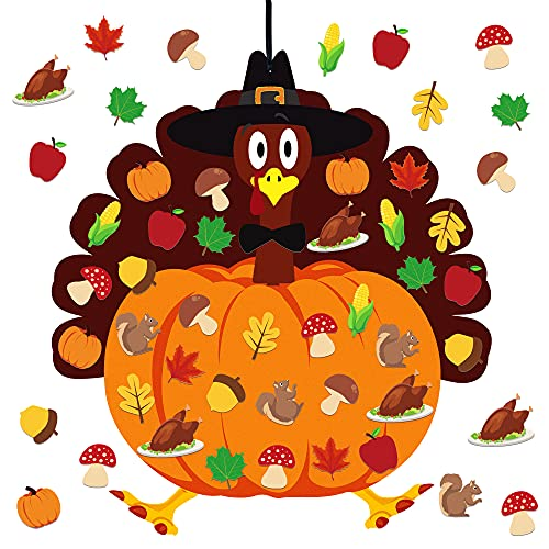 Fall Thanksgiving Felt Craft Kit - DIY Turkey Pumpkin Felt Set with 34 Pcs Detachable Fall Maple Leaves Squirrel Pine Cones Corns Ornaments for Kids Gifts Classroom Craft Thanksgiving Activity