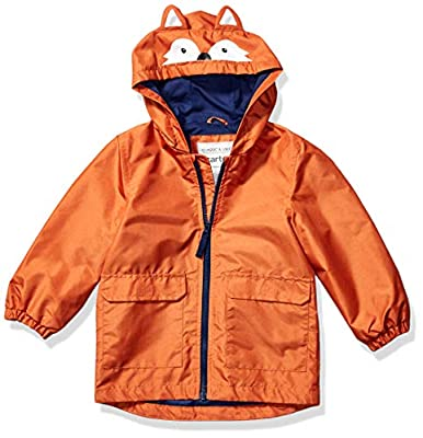 Carter's Boys' Little Critter Rainslicker Lightweight Rain Jacket, Orange Fox, 5/6