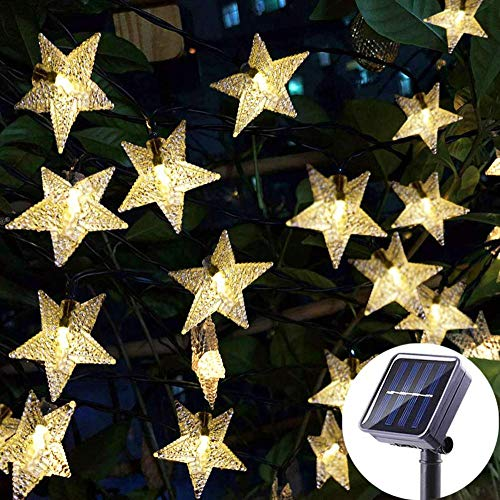 AdoDecor LEDs Solar Star String Fairy Light warmOutdoor Garden Christmas Party Decoration Solar Lights for for Christmas