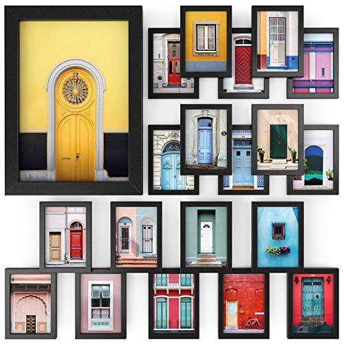 Arteza Marcos de fotos | Tamaño 12,7 x 17,8 cm | Paquete de 20 | Marcos con acabado en madera | Frontal de cristal transparente | Marcos de fotos múltiples para pared y escritorio