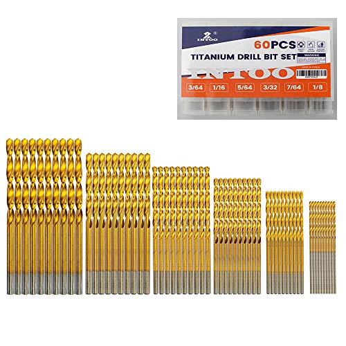 INTOO Mini Drill Bit Set 60 Pcs+12 Pcs Free High Speed Steel HSS Titanium Micro Drill Bits 3/64