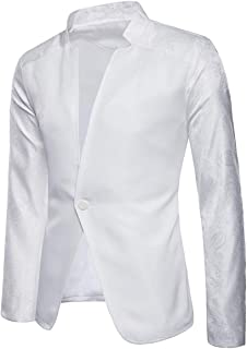 YOUTHUP Mens Suit Jackets Single Breasted Stand Collar Blazer Chic Coat with Prints Collar and Sleeve