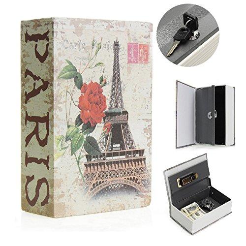 SAFETYON vintage Buchtresor mit Schlüssel, versteckter Buch Geldkassette im wörterbuch feuerfest, Buchsafes getarnt als Roman 18 X 11.7 X 5.5cm Paris