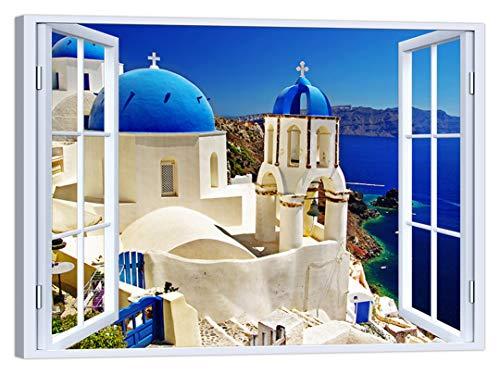 LuxHomeDecor Cuadro de ventana Paisaje Grecia 100 x 75 cm Impresión sobre lienzo con marco de madera Decoración Arte Decoración Moderno