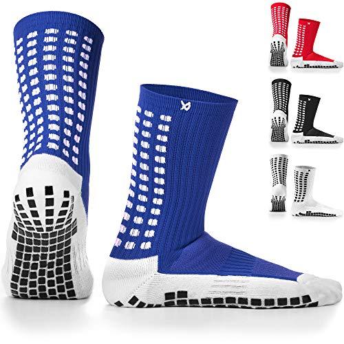 LUX rutschfeste Fußball Socken, rutschfeste Sport Socken, Gummi-Pads, trusox/tocksox Style, Top Qualität, Basketball, Fußball, Wandern, Laufen, Hier in weiß, schwarz, rot, blau Blau blau UK 5.5-21