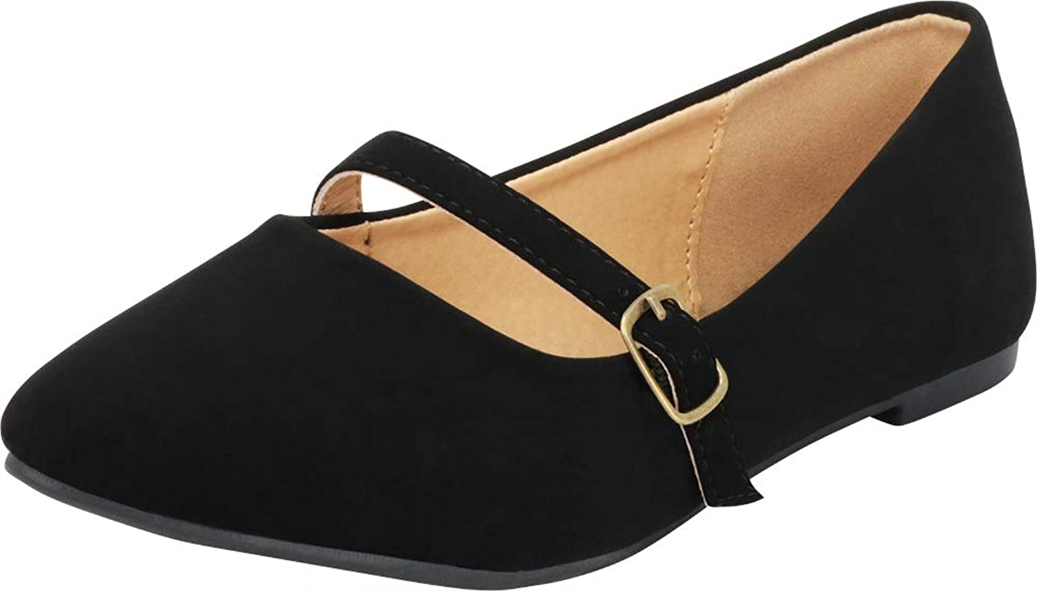 Cambridge Select Women's Pointed Toe Mary Jane Ballet Flat