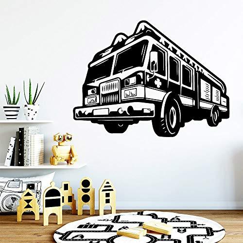 Pegatina de pared de coche de camión de bomberos de dibujos animados calcomanía artística de vinilo para niños dormitorio infantil sala de estar decoración del hogar Mural