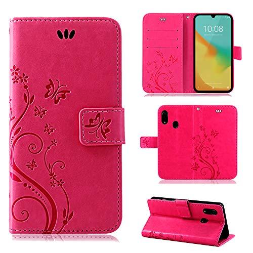 betterfon | ZTE Blade V10 Vita Hülle Handy Tasche Handyhülle Etui Wallet Hülle Schutzhülle mit Magnetverschluss/Kartenfächer für ZTE Blade V10 Vita Blume Pink