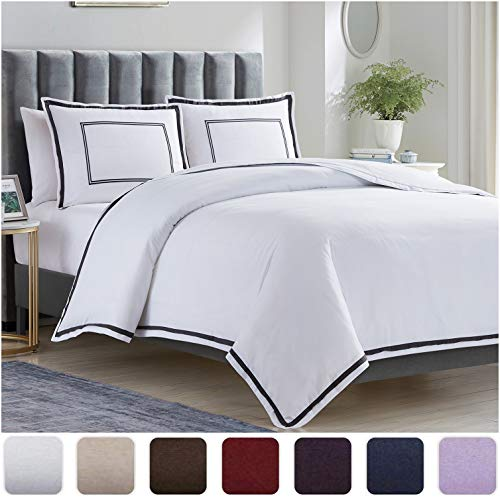 Mellanni Duvet Cover Set Hotel Quality - Double Brushed Microfiber 1800 Bedding - Wrinkle, Fade, Stain Resistant - 3 Piece (Full/Queen, Hotel White with Gray Embroidery)