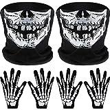 2 Set Weiß Skelett Handschuhe und Schädel Gesichtsmaske Half Ghost Knochen für Erwachsene Halloween Tanzen Kostüm Party