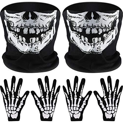 2 Set Weiß Skelett Handschuhe und Schädel Gesichtsmaske Half Ghost Knochen für Erwachsene Halloween Tanzen Kostüm Party (2 Sets)