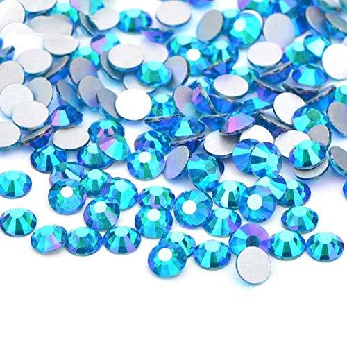 SS 16 20 30 AB Glitter Verre Nail Strass Flatback Nail Cristal Autocollants Ronde En Verre Strass Diamant Artisanat, Bleu Zircon AB, SS30 288 Pcs