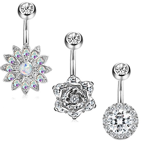 Jstyle 3 Pcs 14G Stainless Steel Belly Button Rings Barbell Navel Rings Bar for Women CZ Flower Body Piercing S
