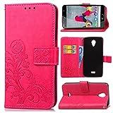 Guran® Funda de Cuero PU para Wiko U Feel Lite 5' Smartphone Función de Soporte con Ranura para Tarjetas Flip Case Trébol de la Suerte en Relieve Patrón Cover - Rosa roja