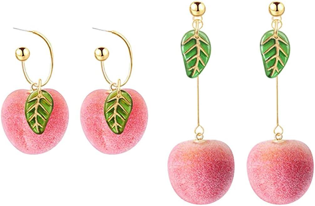 2 Pairs Simulation Peach Stud Earrings Pink Cute Peach Long Earrings for Women Girls Fruit Hoop Earrings Jewelry Gifts