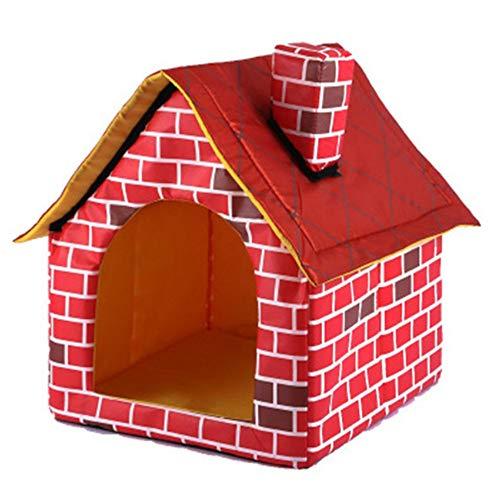 Wuwenw Haustierbett Hund Entfernbares Rotes Ziegelstein-Haustier-Nest-Haus-Kamin-Haus-Tragbares Zelt-Nest-Warmes Und Bequemes Hundehaus