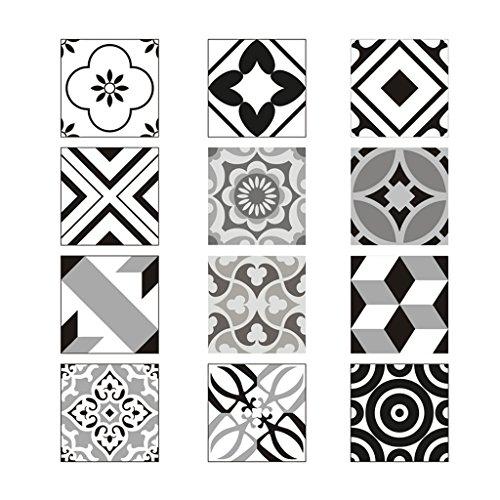 D DOLITY 12x Mosaico Retro Graz Design–Vinilos Adhesivos para Azulejos Pegatinas para baño Cocina