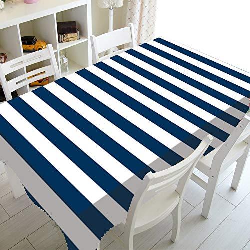 XXDD Ancla náutica Azul Marino Rayas Blancas decoración del hogar Mantel Marino océano Mantel Cuadrado Rectangular A11 135x200cm