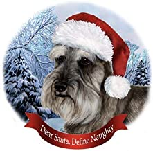Pet Gifts USA Dog in Santa Hat Porcelain Hanging Howliday Ornament (Schnauzer)