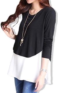 hanano 授乳服 産前 産後 妊婦用 レイヤード 重ね着風 マタニティ トップス 授乳口付 フリーサイズ (ブラック&ホワイト)