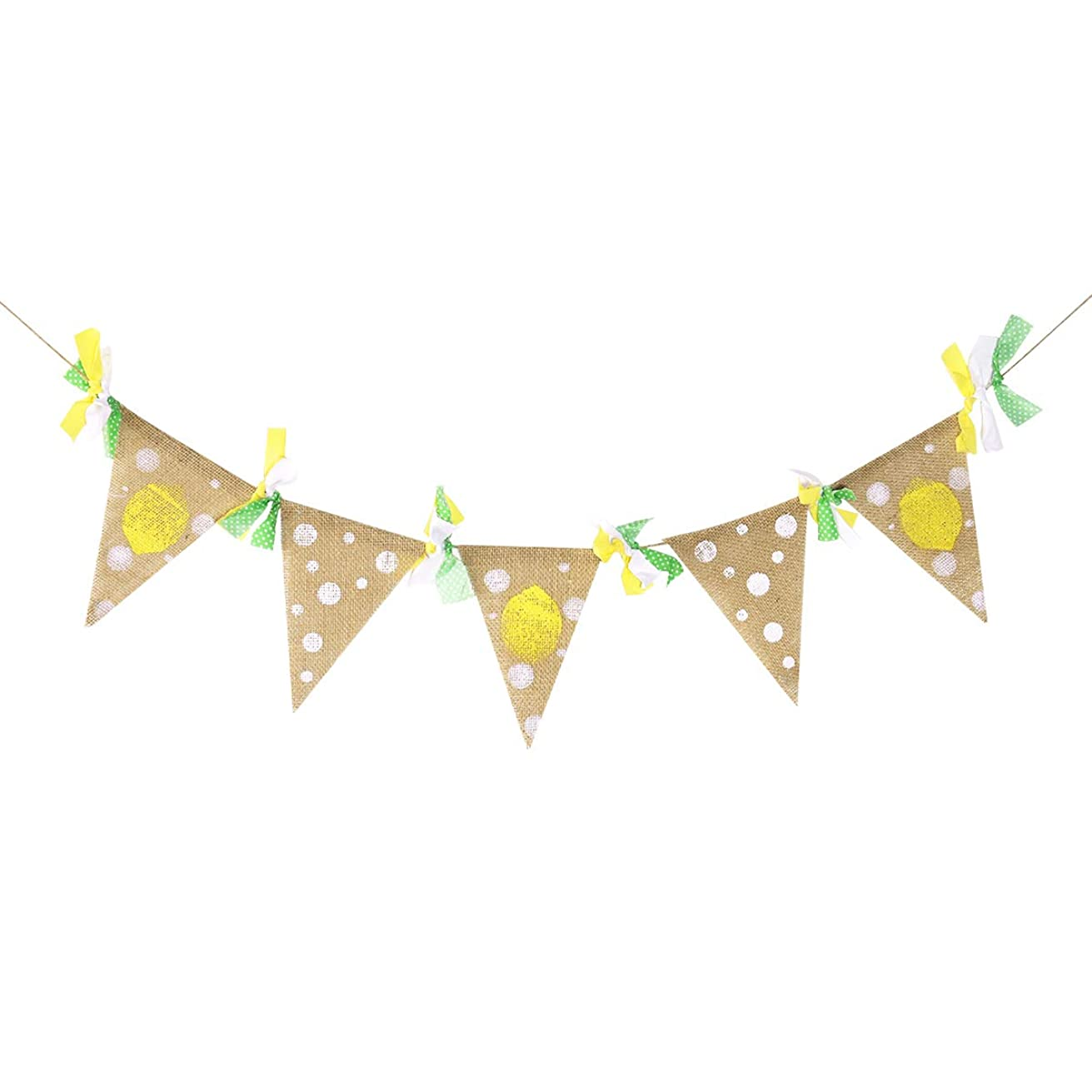 OULII Yellow Lemon Theme Banner Flag Garland Baby Anniversary Birthday Baby Shower Party Decoration