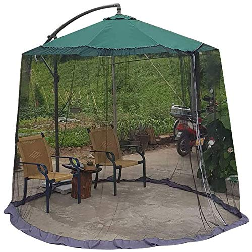 SJBD-Coaster Pantalla de Mesa de sombrilla para Exterior, sombrilla de jardín, Cubierta de mosquitera, Malla de Red, se Adapta a sombrillas de Exterior y mesas de Patio, Negro elástico y Transpirable