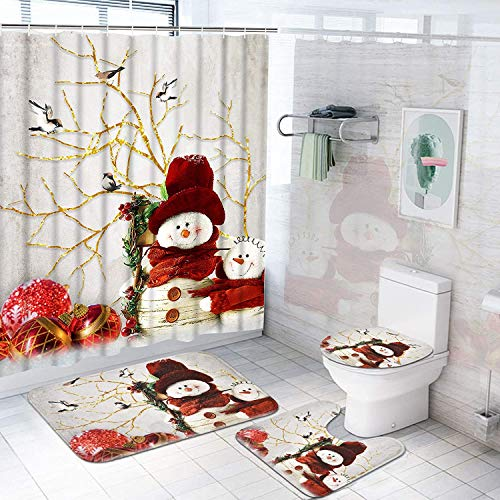 Pknoclan 4Pcs Winter Snowman Shower Curtain Set with Non-Slip Rug, Toilet Lid Cover and Bath Mat, Snowman Shower Curtains with 12 Hooks, Winter Shower Curtain Sets for Bathroom