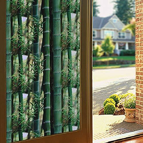 adesivi in vetro di bambù verde adesivi elettrostatici isolamento protezione della privacy protezione UV riutilizzabile decorazione finestra rimovibile 60cmx100cm