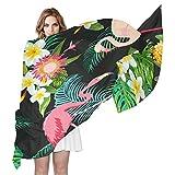 QMIN - Bufanda de seda, diseño de hojas de palmeras tropicales, flamenco, diseño floral, largo y ligero, para mujeres y niñas