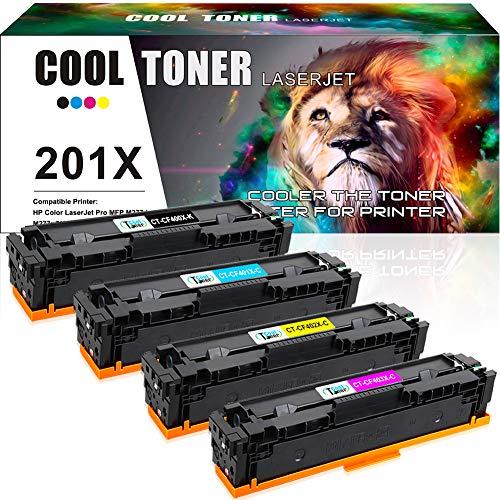 Cool Toner Compatible Toner Cartridge Replacement for HP 201X 201A CF400X CF401X CF402X CF403X CF400A for HP Color Laserjet Pro MFP M277dw M252dw M277c6 M277n M252n M277 M252 Laser Printer Ink-4 Packs