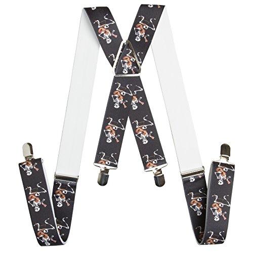 Brubaker Musik Fan Bretelles en métal avec 4 clips solides Noir Largeur 34 mm