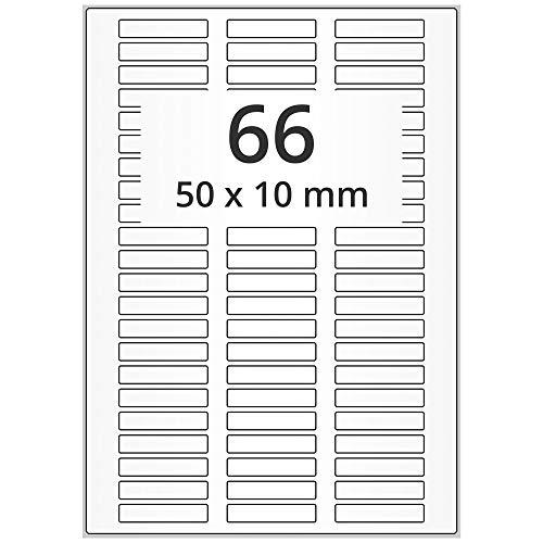 Labelident Laseretiketten selbstklebend auf DIN A4 Bogen - 50 x 10 mm - 33000 Universal Etiketten weiß, matt, 500 Blatt Papier Laserdrucker Etiketten