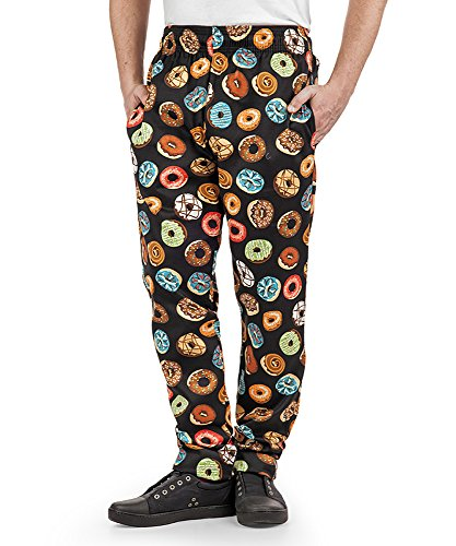 Men's Donut Print Baggy Chef Pant (X-Small)