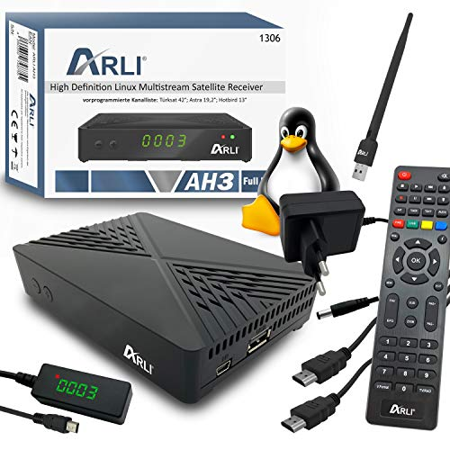 ARLI AH3 inkl WiFi WLAN Stick HD S2 IP Receiver Linux Sat TV Mini Box + Kanalliste Astra Hotbird Türksat Full HD LAN USB Sat DVB-S2 Receiver IPTV IR Sensor Display Web Weblet Multimedia