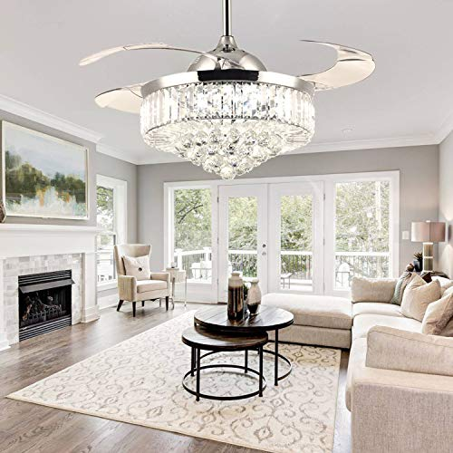 Moooni Dimmable Fandelier Crystal Retractable Ceiling Fans with Light and Remote Invisible LED Crystal Chandelier Fan -Polished Chrome 42 Inches