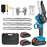 Untimaty Mini Chainsaw, 4 Inch Handheld Electric Chainsaw With Security Lock Portable Cordless 21V Pruning Shears Hand Chainsaw for Garden Tree Branch Wood Cutting with 2Pcs Batteries and 3Pcs Chain